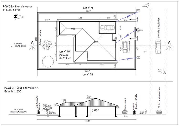 R alisation de permis de construire - Plan en coupe terrain et construction ...
